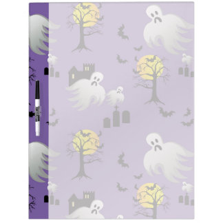 Halloween Full Moon Ghosts on Purple Dry Erase Whiteboard