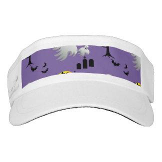Halloween Full Moon Ghosts on Purple Headsweats Visor