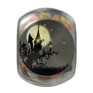 Halloween full moon night background glass jar