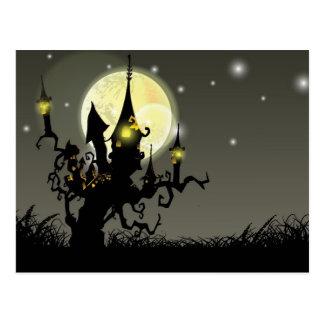 Halloween full moon night background post cards
