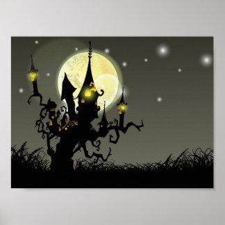 Halloween full moon night background print
