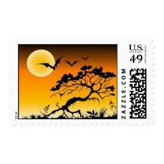 Halloween full moon postage stamps