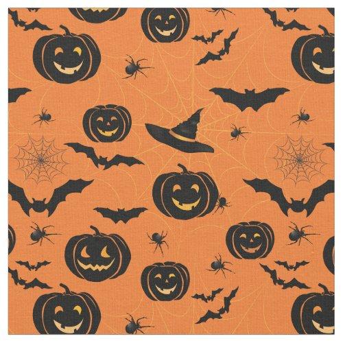 Halloween Fun Pumpkins  Witch Hats Pattern Fabric