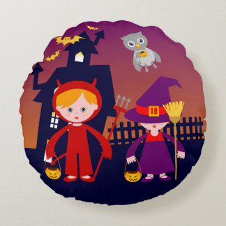 Halloween fun with red demon boy and witch round pillow