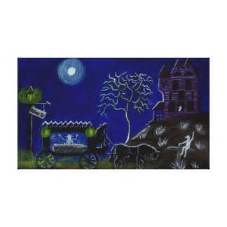 Halloween,funeral,wagon,ghosts,cemetary Canvas Print