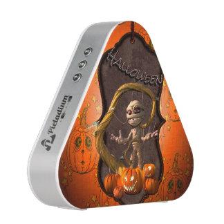 Halloween , funny mummy with pumpkin speaker