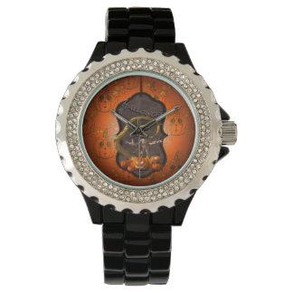 Halloween , funny mummy with pumpkin wrist watch