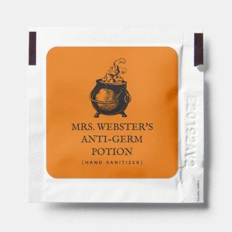 Halloween funny orange witch potion favor hand sanitizer packet