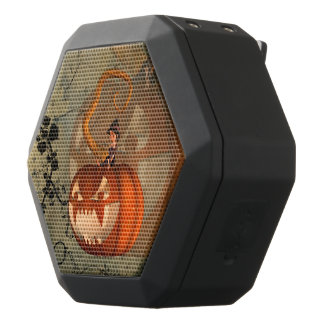 Halloween, funny pumpkin with cute witch black bluetooth speaker