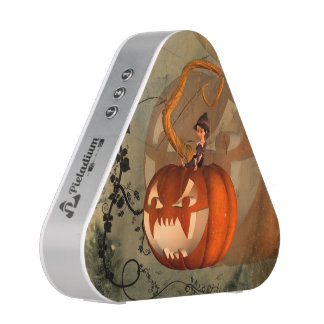 Halloween, funny pumpkin with cute witch bluetooth speaker