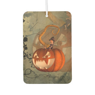 Halloween, funny pumpkin with cute witch car air freshener