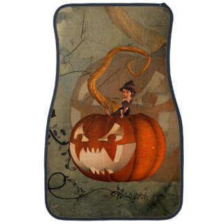 Halloween, funny pumpkin with cute witch car floor mat