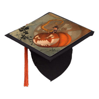 Halloween, funny pumpkin with cute witch graduation cap topper