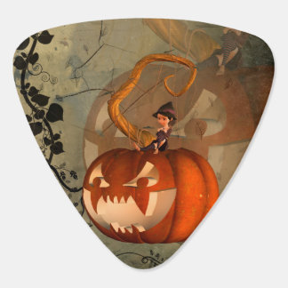 Halloween, funny pumpkin with cute witch guitar pick