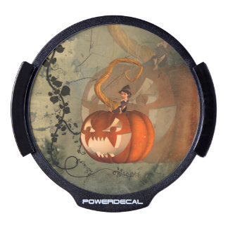 Halloween, funny pumpkin with cute witch LED car decal
