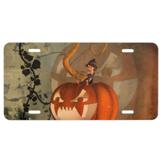 Halloween, funny pumpkin with cute witch license plate