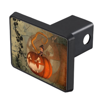 Halloween, funny pumpkin with cute witch tow hitch cover