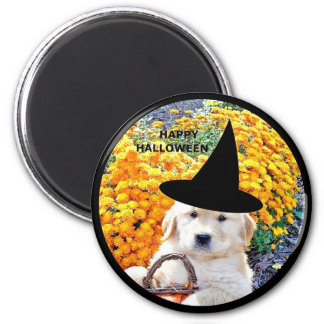 Halloween Funny Puppy Witch T-Shirts & Gift Items 2 Inch Round Magnet
