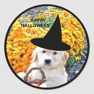 Halloween Funny Puppy Witch T-Shirts & Gift Items Classic Round Sticker