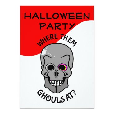 Halloween Themed Halloween Funny Skull Ghouls Party Invitation