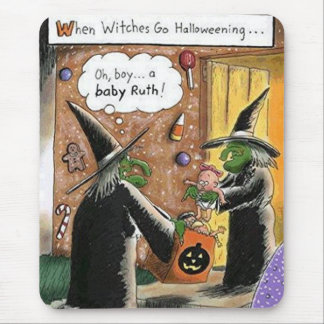 Halloween Funny Witches Trick or Treat Mouse Pad