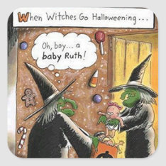 Halloween Funny Witches Trick Or Treat Square Sticker at Zazzle