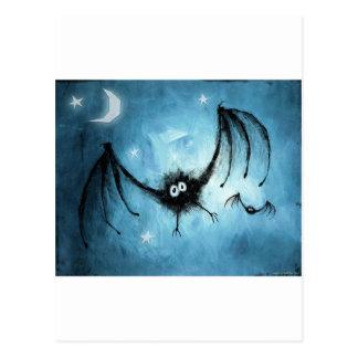 Halloween Fuzzy Vampire Bat Postcard