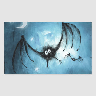 Halloween Fuzzy Vampire Bat Rectangular Sticker