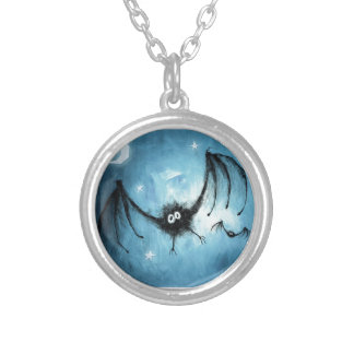 Halloween Fuzzy Vampire Bat Silver Plated Necklace