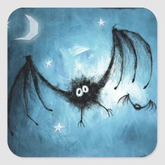 Halloween Fuzzy Vampire Bat Square Sticker