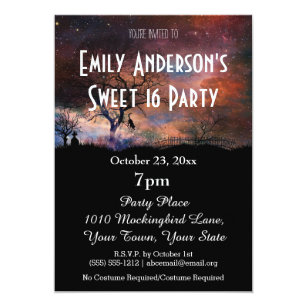 Halloween birthday invitations zazzle halloween galaxy costume sweet 16 birthday invitation filmwisefo