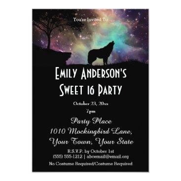 Halloween Themed Halloween Galaxy Wolf Costume Sweet 16 Birthday Card