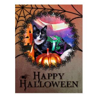 Halloween - gato - margarita postales