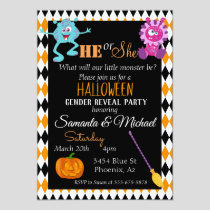Halloween Gender Baby Reveal Party Monster Orange Invitation