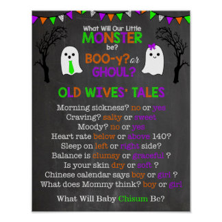 Halloween Gender Reveal Old Wives' Tales Poster
