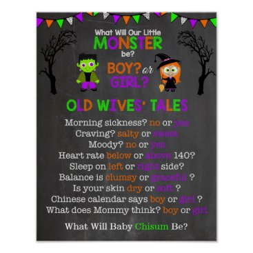 Halloween Themed Halloween Gender Reveal Old Wives' Tales Poster
