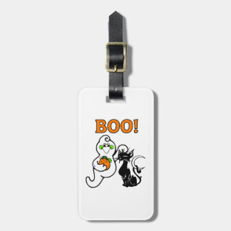 Halloween Ghost and Black Cat Bag Tag