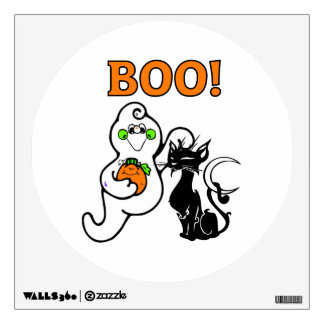 Halloween Ghost and Black Cat Wall Decal