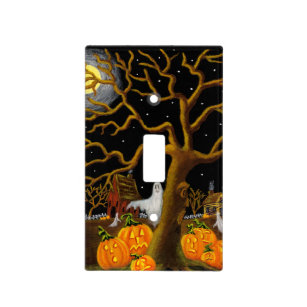 Halloween ghost and Jack-O-Lanterns light switch