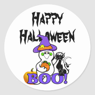 Halloween Ghost Boo Classic Round Sticker