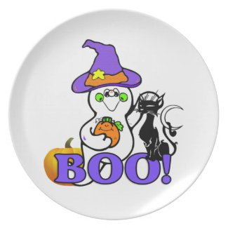 Halloween Ghost Boo Dinner Plate