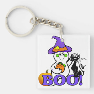 Halloween Ghost Boo Square Acrylic Key Chains
