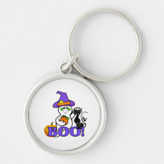 Halloween Ghost Boo Silver-Colored Round Keychain