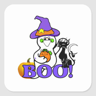 Halloween Ghost Boo Square Stickers