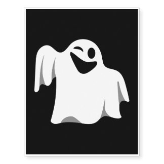 Halloween Ghost Cartoon Illustration 09 Temporary Tattoos