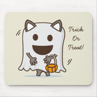 Halloween Ghost cat Trick or Treat mouse pad
