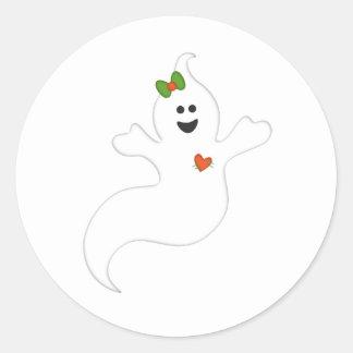 Halloween ghost classic round sticker