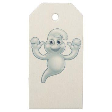 Halloween Themed Halloween Ghost Cute Cartoon Character Wooden Gift Tags
