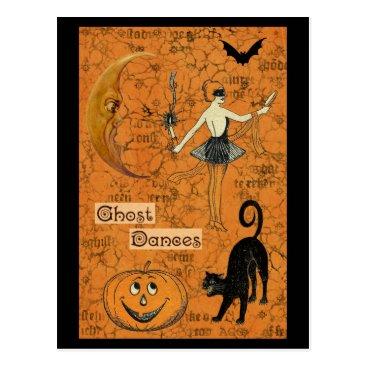Halloween Themed Halloween Ghost Dances Scary Moon Postcard