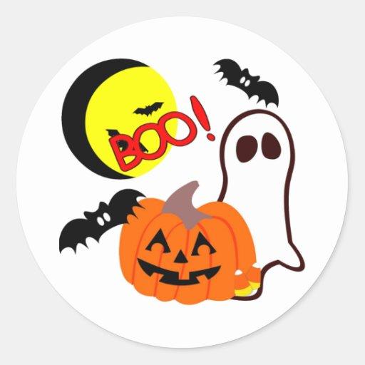 Halloween Ghost Friends Classic Round Sticker